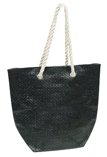 Luxury Eco-friendly Shopping College Woven Tote &#8211; Black
