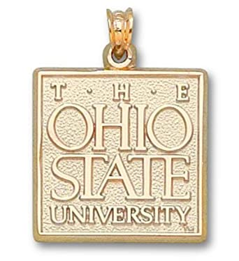 Ohio State Buckeyes The Ohio State University Square Pendant - 14KT Gold Jewelry by Logo Art