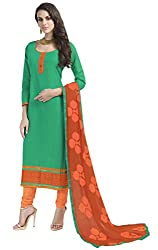 Khoobee Presents South Cotton Dress Material(Green,Orange)