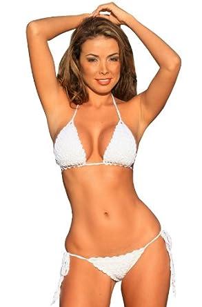 White French Riviera Crochet Bikini at Amazon Women's Clothing store
