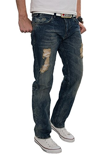 Lorenzo Loren Herren Jeans Hose Denim Used Look Destroyed Herrenjeans Blau LL-2511 W40 L38