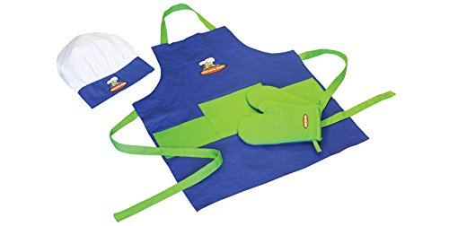 Child Chef Apron Set - Blue & Green