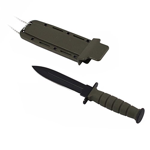 Green 6 Inch Dagger Neck Knife Fixed Blade with Wearable Plastic Sheath