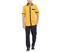 Copperstone Men's Casual Shirt (8903944576001_Yellow_Medium)