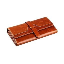 Kattee Vintage Women\'s Genuine Leather Wallet Brown
