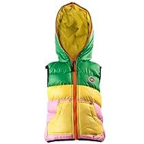 Baleaf Kids Girls Stripe Mosaic Cotton-padded Hooded Fall/Winter Ski Vest Size 12-13 years