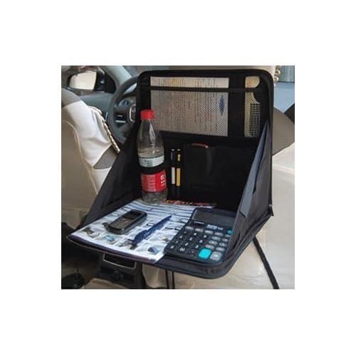 多機能! 折りたたみ式 車載テーブル 後部席用 収納ケース付き 省スペース / パソコンデスク 食事テーブル (ブラック)