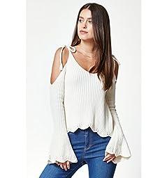 La Hearts Womens Tie Strap Cold Shoulder Sweater