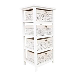 premier housewares meuble de rangement 4 paniers en osier structure en bois blanc 82 x 40 x 32. Black Bedroom Furniture Sets. Home Design Ideas
