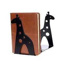 HITOP 1 Pair Cute Animal Bookends Giraffe Novelty Bookend Stand Art Gift (Black)