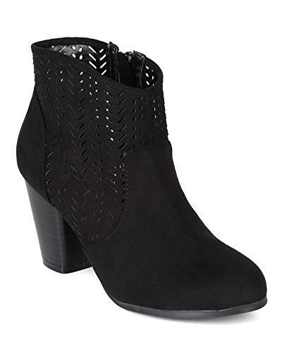 Qupid BI49 Women Suede Perforated Chunky Heel Western Riding Bootie - Black