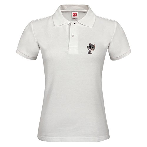 Polo T-shirt Short Sleeve With Alice In Wonderland Cat Pattern Casual Tees For Women