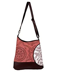 Exclusive Cotton Scroll Shoulder Bag Red Printed For Ladies By Rajrang