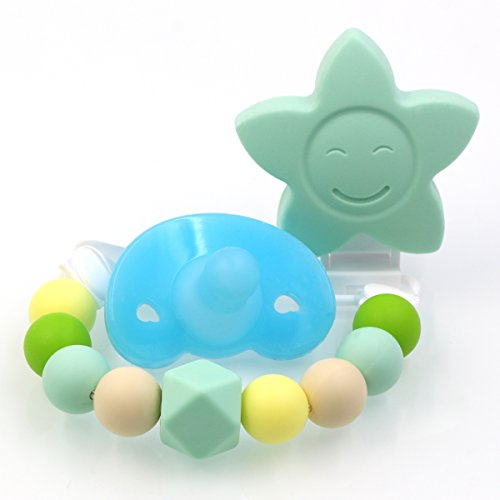 AILAMS-food-grade-Silicone-Baby-Soother-Toddler-Dummy-Pacifier-Chain-And-Teether-With-early-Teething-Beads-Candy-Colours-With-Giant-Star-Blue