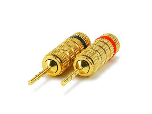 Monoprice 1 Pair Of High-Quality Copper Speaker Plugs - Pin Screw Type (105975)