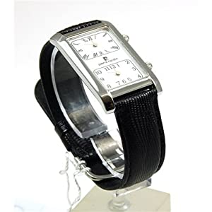 Pierre Cardin Gents Dual Time White Dial Genuine Black Leather Strap Watch 94201