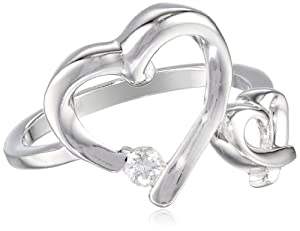 Sterling Silver Double Open Heart Diamond (1/10cttw, I-J Color, I2-I3 Clarity) Ring, Size 7