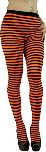ToBeInStyle Women's Colorful Opaque Striped Tights Pantyhose Stocking Hosiery - BLACK/NEONORANGE - One Size