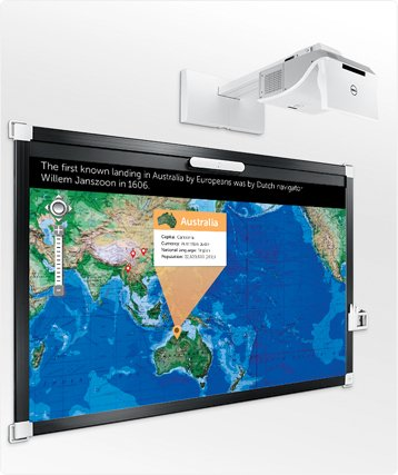 Dell Interactive Projector S520 / Multi-Touch Display On The Whiteboard / Wireless And Wired Versatility