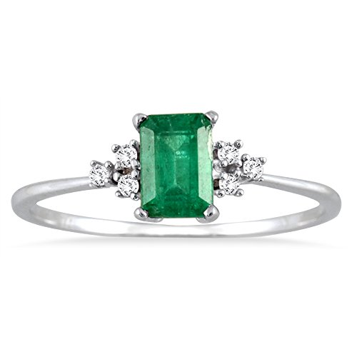 Emerald and Diamond Ring in 10K White Gold (Genuine Emerald Ring compare prices)