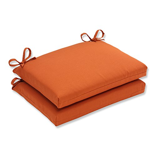 Pillow Perfect Indoor/Outdoor Cinnabar Squared Seat Cushion, Burnt Orange, Set of 2 (Orange Outdoor Cushions compare prices)