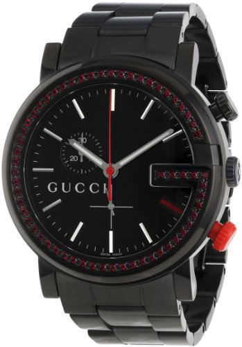 Gucci Unisex YA101348 G-Chrono Black PVD 60 Red Topaz Case Watch