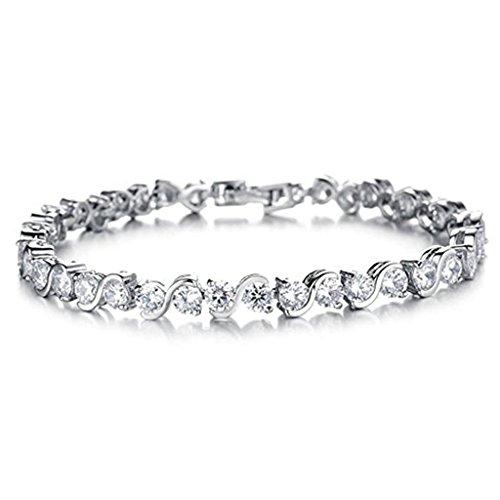 Feraco Jewelry-Bracciale Tennis placcato al platino con zirconi Swarovski (CZ)-Bracciale rigido da donna con cristalli, colore: White Bracelet, cod. UKAJ1607020-W