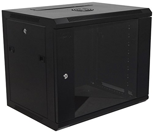 9U Wallmount Cabinet Enclosure 19-Inch Network Rack Locking Glass Door 18'' Deep (Glass Door Enclosure compare prices)