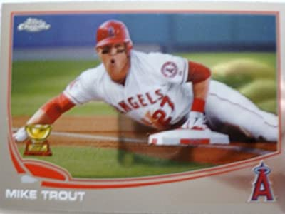 2013 Topps Chrome Baseball #1 Mike Trout Trading Card in a Protective Case With a Small Stand - Los Angeles Angels