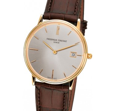 Frederique Constant Slim Line Light Grey Dial Yellow Gold-Plated Mens Watch Fc-220Nv4S5