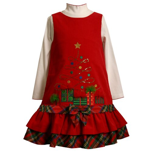 Bonnie Jean Little Girsl 4-6X 2-Piece RED SEQUIN X-MAS TREE DROP WAIST CORDUROY Special Occasion Holiday-Theme Jumper Party Dress Set-6 BNJ-3512X-X33512