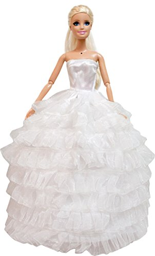 Barbie Party Gown with Ruffles Evening Dress, White Wedding Gown