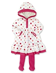 2 Piece Cotton Rich Spotted Hooded Dress & Tights Outfit