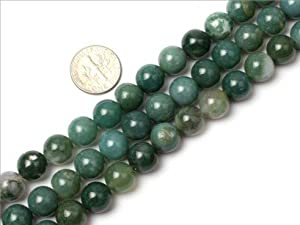10mm Round Gemstone moss agate beads strand 15