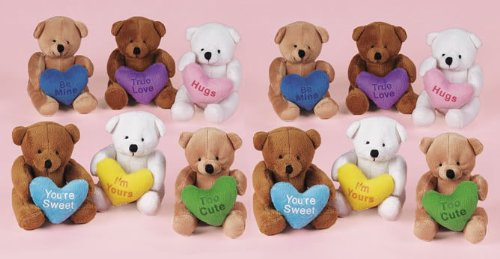 Plush Valentines Day Suede-Like Bears (12)