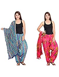Rama Set Of 2 Printed Yellow & Pink Colour Cotton Full Patiala With Dupatta Set