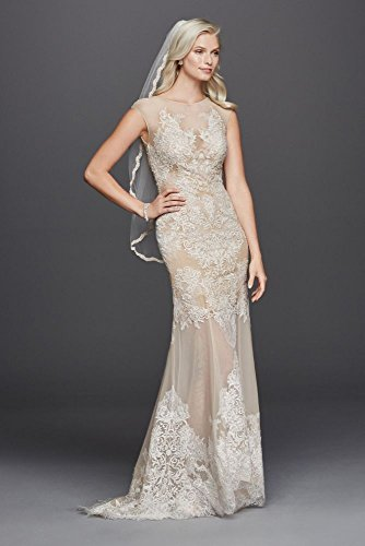 Net Stretch Mesh Sheath Wedding Dress with Cap Sleeves Style SWG726, Ivory, 12