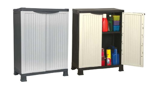 92cm High Lockable Plastic Garden Storage Cabinet / Shed With One Adjustable Shelve