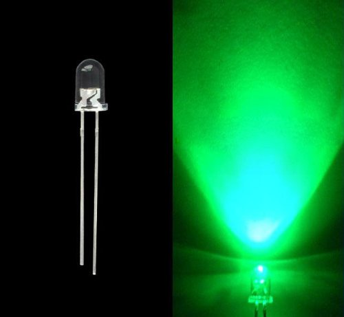 10Pcs Green 5Mm Light Emitting Diodes - Round Head Water Clear Led Diodes
