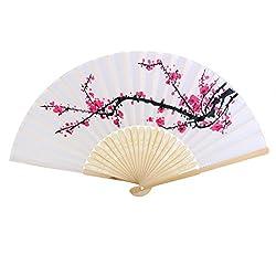Generic Japanese Bamboo Plum Blossom Folding Hand Held Fan Pocket Fan Wedding Decor