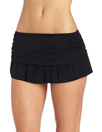 Ocean Avenue Women's Ruffle Skirted Bottom, Black, X-Large