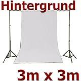 Fotohintergrund Hintergrund für Fotostudio Baumwolle Weiß 3x3m, 300x300cm