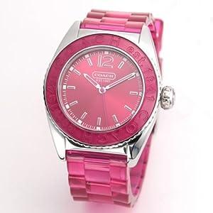 Coach Women's Boyfriend Style Watch 14501419 Andee Hot Pink Jelly Strap Stainless Steel Case Hot Pink Bezel