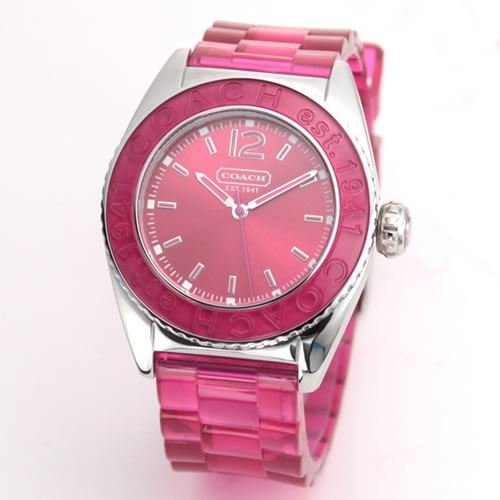 Coach Women's Boyfriend Style Watch 14501419 Andee Hot Pink Jelly Strap Stainless Steel Case Hot Pink Bezel