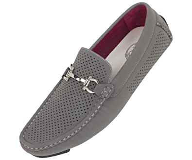 Amali Mens Driving Moccasin Loafer in Grey Perforated Brushed Smooth with Silver Horse Bit Ornament in Grey: Style 1475 Grey-011 15 D (M) US
