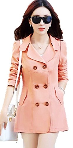 (ハスル) Hasle レディース シンプル スプリング コート エレガント 大人 きれいめ 上品 ボタン アウター パステルカラー 春 仕事 通勤 襟 カラー サイズ 豊富 L ピンク