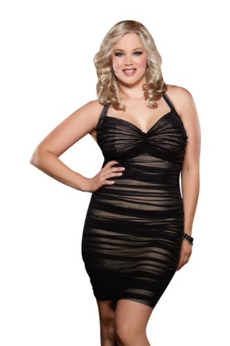 Dreamgirl Women's Plus-Size After Dark Retro Style Halter Illusion Dress, Black, 3X/4X (Bbw Clothing compare prices)