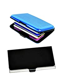 Blaze Designer Steel Visiting And Credit Card Holder Pack Of 2- Black & Blue