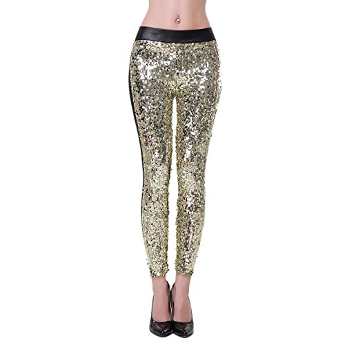 Tirain Footless Liquid Wet Look Shiny Metallic Stretch Hot Stripes Leggings (Sequins-gold) (Disco Themed Clothes)