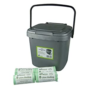 kitchen compost caddy and 100x 8l biobags. Black Bedroom Furniture Sets. Home Design Ideas